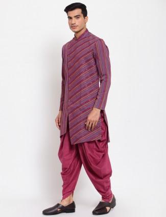 Wine shade thread decorated kurta set for men