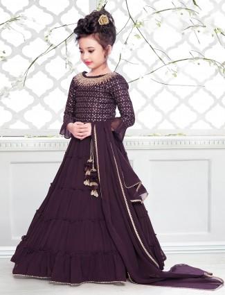 Wine shade wedding wear floor-length anarkali suit in georgette