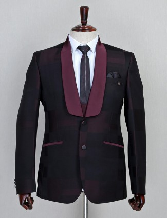 Wine solid terry rayon three piece coat suit
