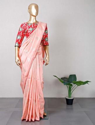 Women peach saree in silk
