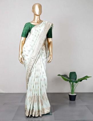 Womens pista green festive saree
