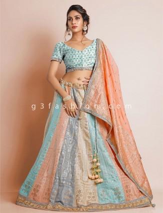 Womens sky blue wedding lehenga with unstitched blouse