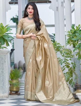 Wonderful beige color wedding look banarasi silk saree
