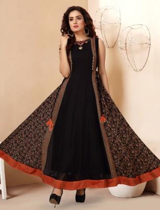 Wonderful black georgette printed designer kurti