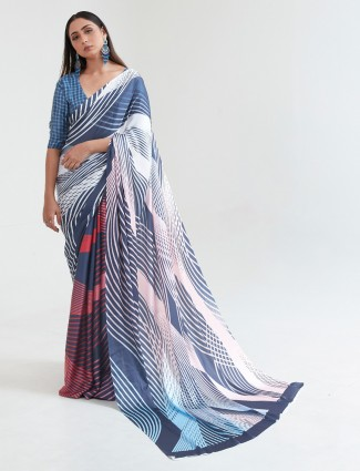 Wonderful blue crepe printed saree