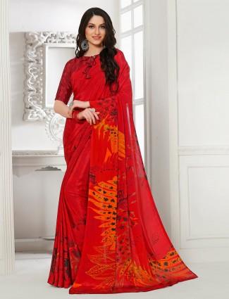 Wonderful crepe festive function red saree