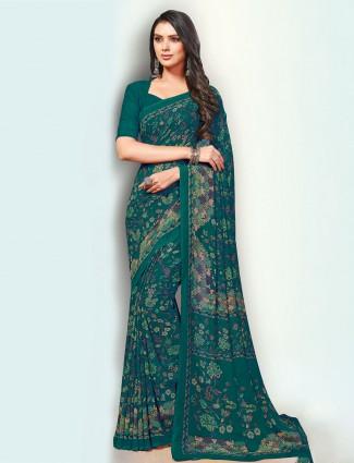 Wonderful green printed georgette saree