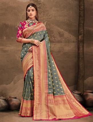 Wonderful grey wedding session saree in banarasi silk