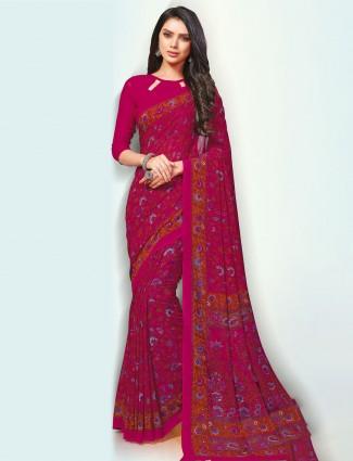 Wonderful magenta hue pretty georgette saree