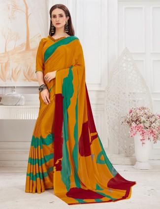 Wonderful mustard hue pretty crepe saree