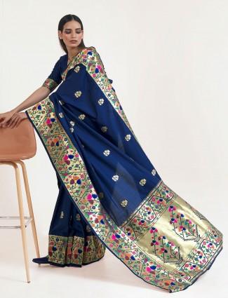 Wonderful navy banarasi silk saree for wedding session