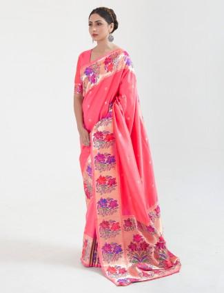 Wonderful peach banarasi silk saree for wedding session