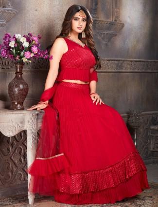 Wonderful red georgette wedding sessions lehenga choli