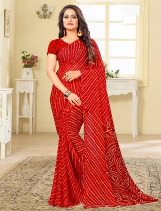Wonderful red printed chiffon bandhani saree for festive