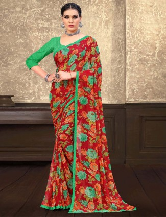 Wonderful red printed georgette saree for festive