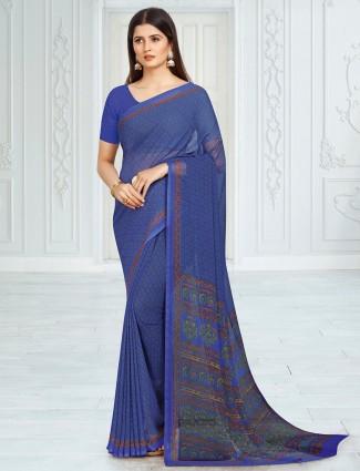 Wonderful blue georgette floral printed saree