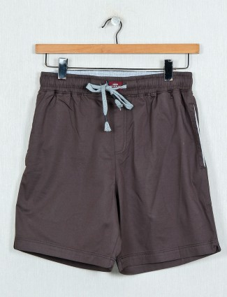 XN Replay solid brown cotton shorts