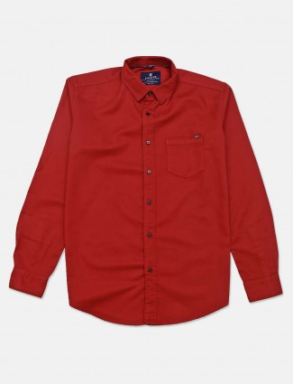 xPioneer maroon slim fit solid shirt