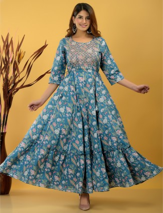 Yale blue printed cotton casual wear kurti