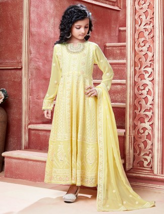 Yellow anarkali suit for little girls with thread and sequins