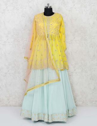 Yellow and green georgette designer lehenga choli