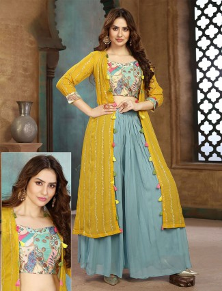 Yellow and green jacket style palazzo suit for wedding