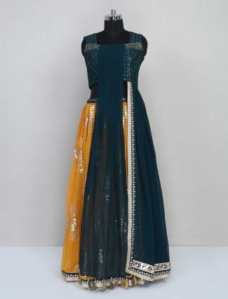 Yellow and green lehenga style salwar suit