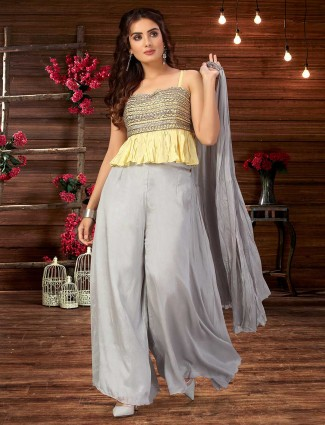 Yellow and grey wedding wear palazzo suit in cotton