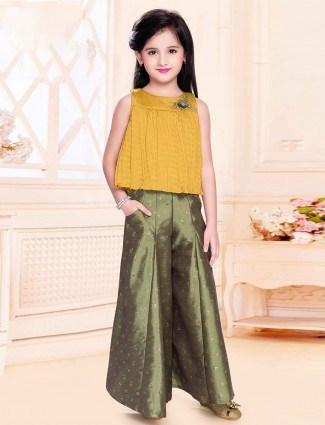 Yellow and olive party wear palazzo style suit