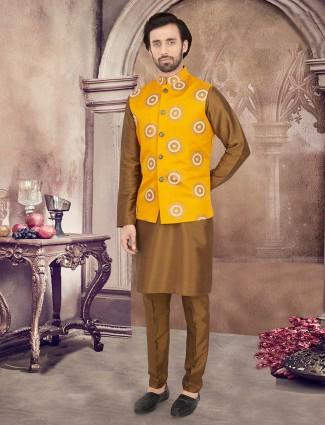 Yellow and olive stand collar waistcoat set