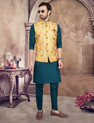 Yellow and rama green printed cotton party wear mens waistcoat set