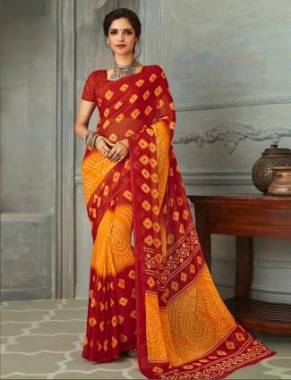 Yellow and red printed chiffon bandhani saree for festive