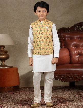 Yellow and white cotton waistcoat set for festive look