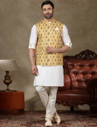 Yellow and white cotton waistcoat set for festive occasion