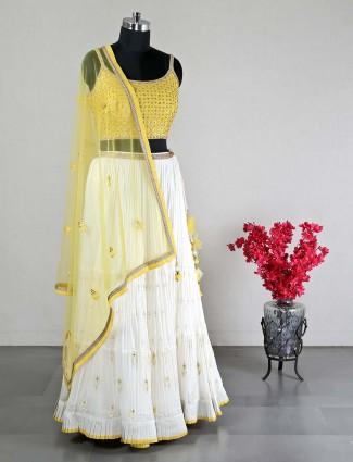 Yellow and white georgette lehenga choli for wedding
