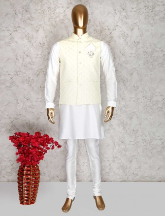 Yellow and white party wear cotton silk waistcoat set