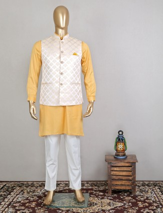 Yellow and white wedding wear waistcoat set in silk for wedding sessions