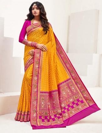 Yellow banarasi silk wedding session saree