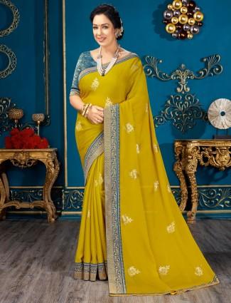 Yellow chiffon festive wear sari