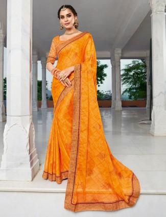 Yellow chiffon haldi function saree