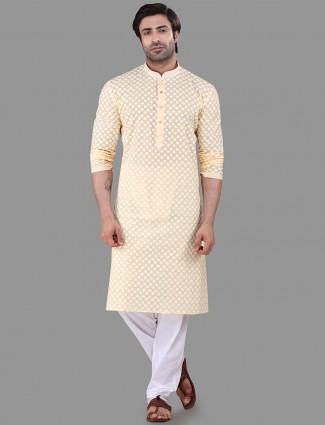 Yellow chikan kurta suit festive wear