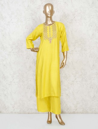 Yellow color palazzo suit for women in cotton silk
