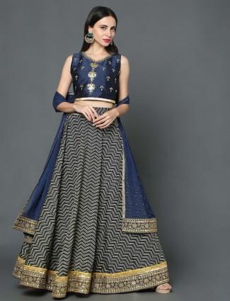 Navy color silk wedding wear lehenga choli