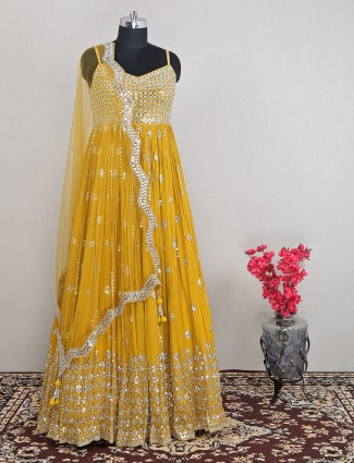 Yellow colored adorable georgette anarkali suit for wedding