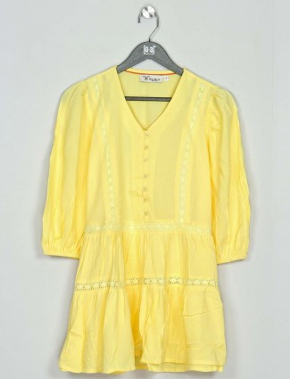 Yellow cotton casual wear western top