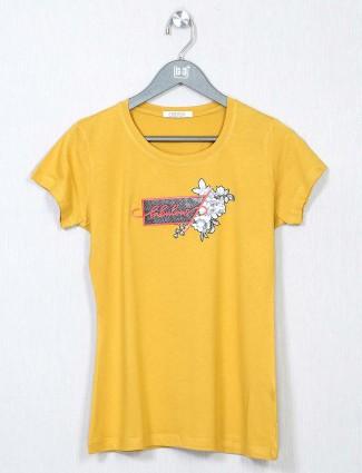 Yellow cotton causal women western top
