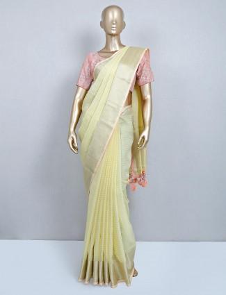 Yellow cotton designer wedding wear saree