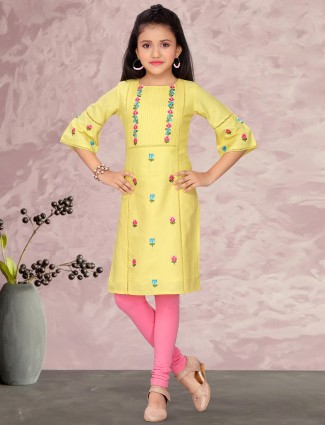 Yellow cotton festive occasions salwar suit for girls