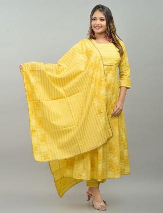 Yellow cotton festive wear punjabi anarkali style printed pant suit