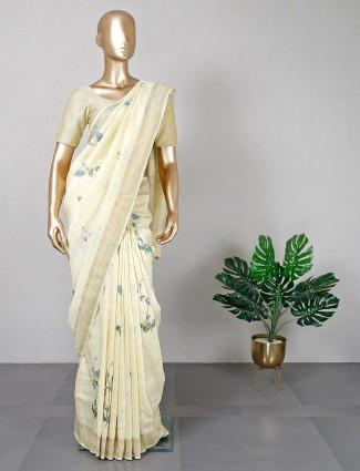 Yellow cotton festive wear saree with ready made blouse